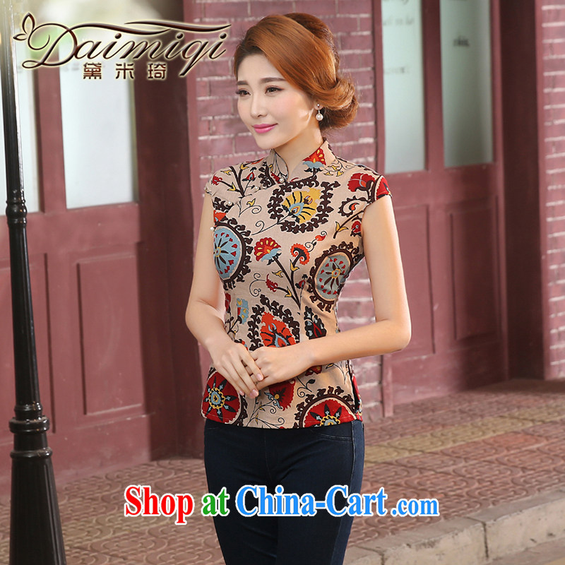 Dresses summer dresses new and improved, improved linen short cheongsam shirt short-sleeved Chinese Chinese qipao retro Korea girl summer tea color XXL