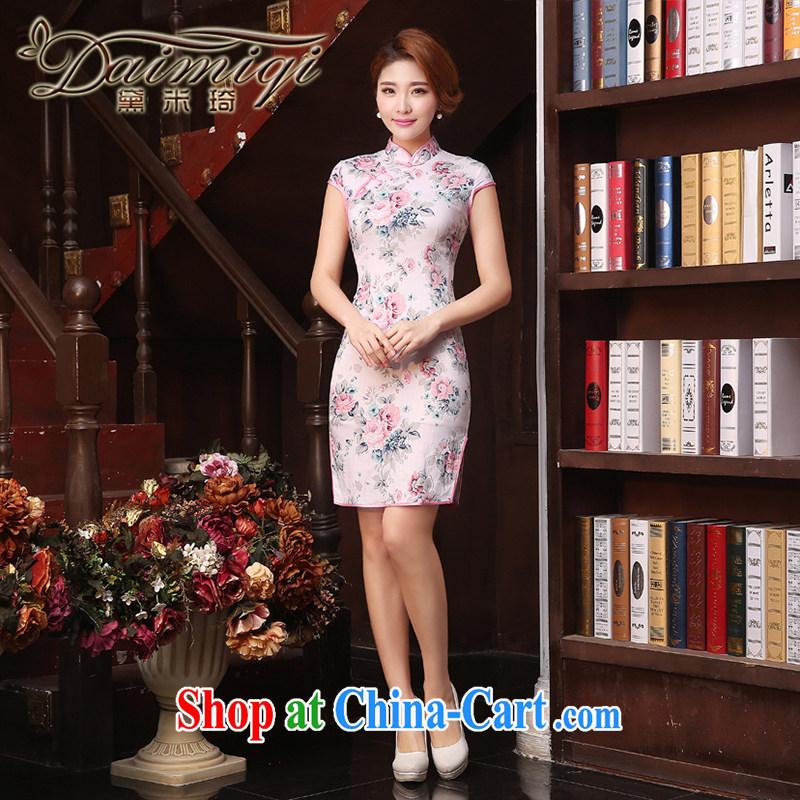 Dresses summer dresses improved 2015 summer new stylish improved retro short cheongsam dress Chinese daily pink rose red XXL