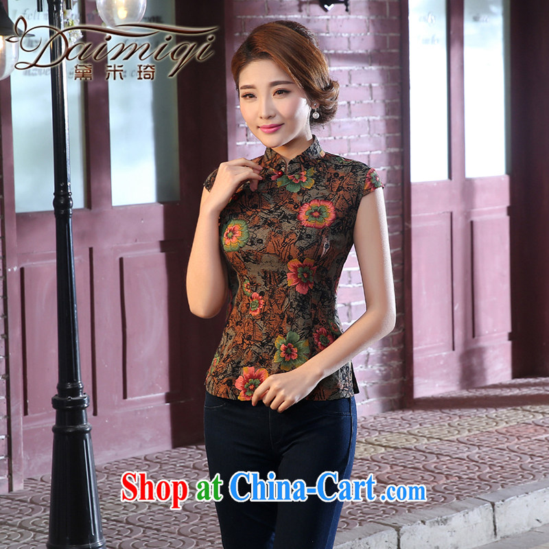 Dresses summer dresses skirt new linen short cheongsam shirt arts girls dresses beauty of antique retro dresses brown XXL