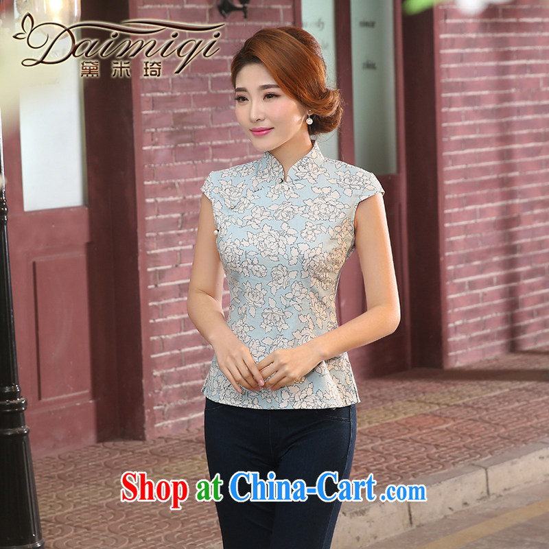 Dresses summer dresses new improved linen short cheongsam shirt short-sleeved Chinese Chinese qipao retro Korea girl summer sky blue XL