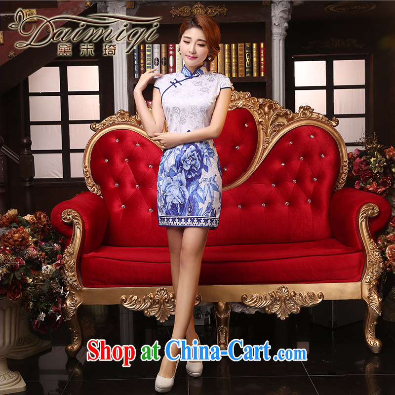 Dresses summer dresses improved spring and summer new improved cheongsam dress of Korea, traditional embroidered retro style daily outfit white XXL