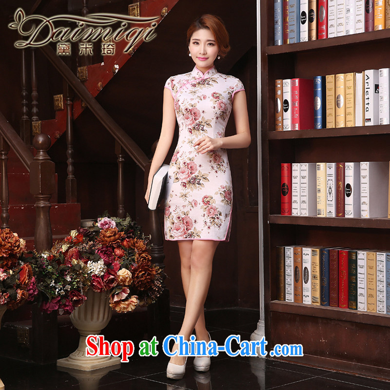 Dresses summer dresses skirts 2015 summer new stylish improved retro short cheongsam dress Chinese daily pink rose red XXL