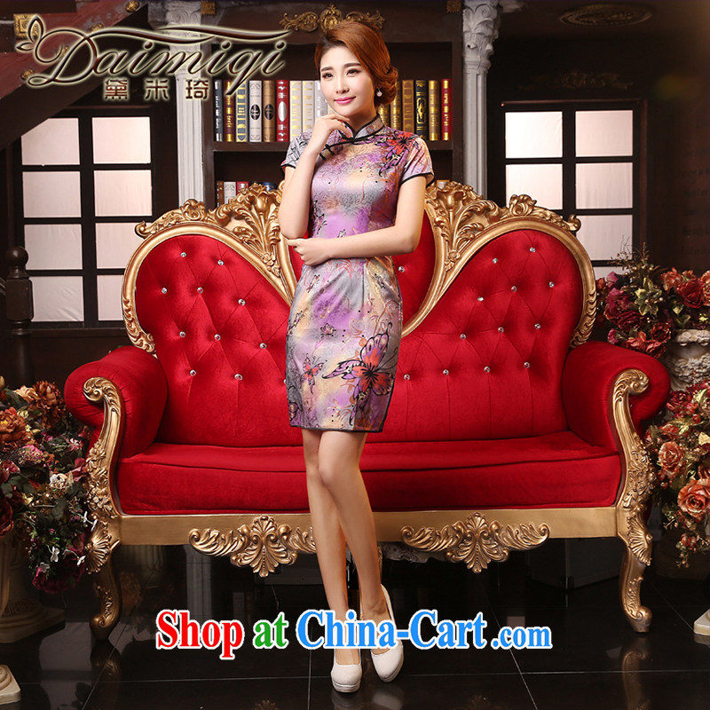 Dresses summer dresses skirts 2015 summer new, Retro beauty cheongsam dress improved temperament, daily dress cheongsam dress rose red XXL