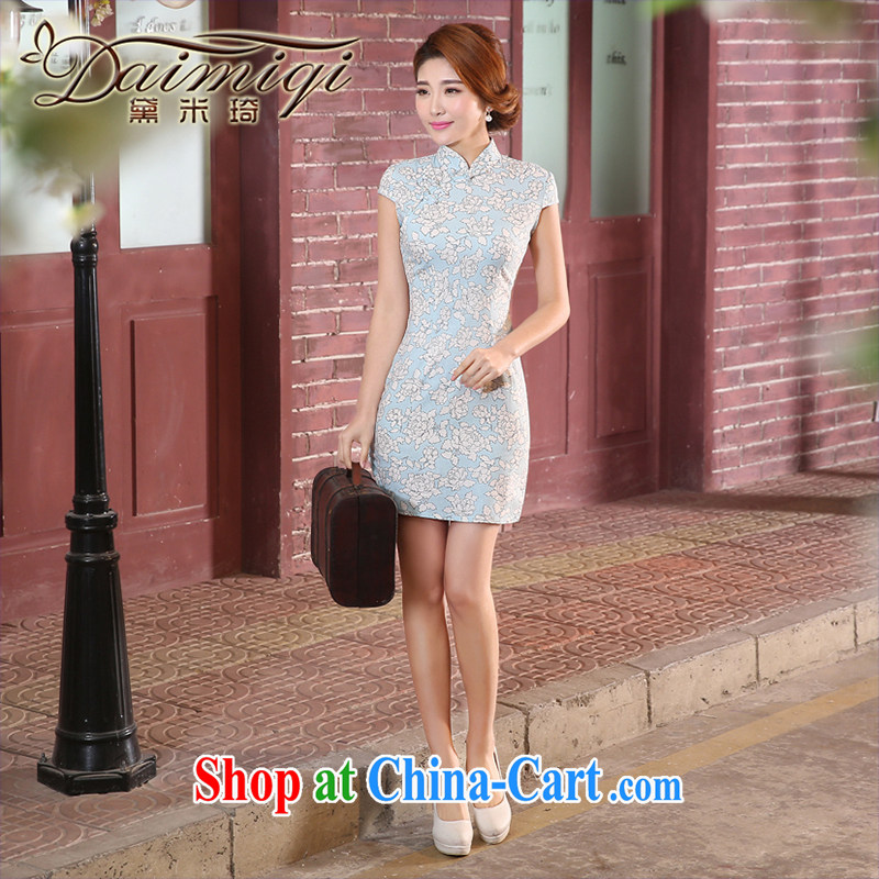 Dresses summer improved cheongsam qipao retro dresses cheongsam elegant daily short qipao cheongsam dress blue XXL