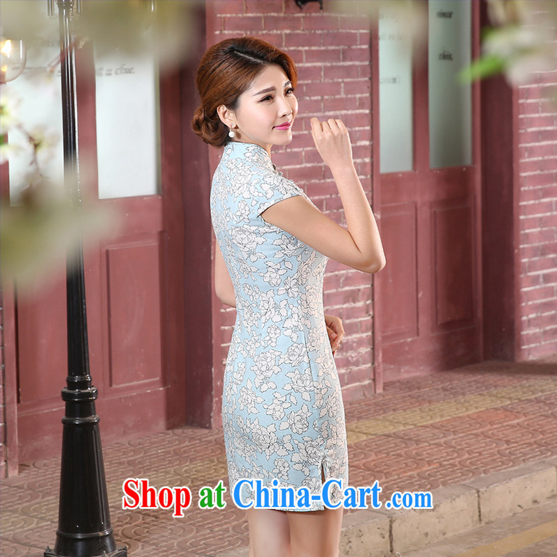 Dresses summer improved cheongsam qipao retro dresses cheongsam elegant daily short qipao cheongsam dress blue XXL, Diane M Qi, and shopping on the Internet
