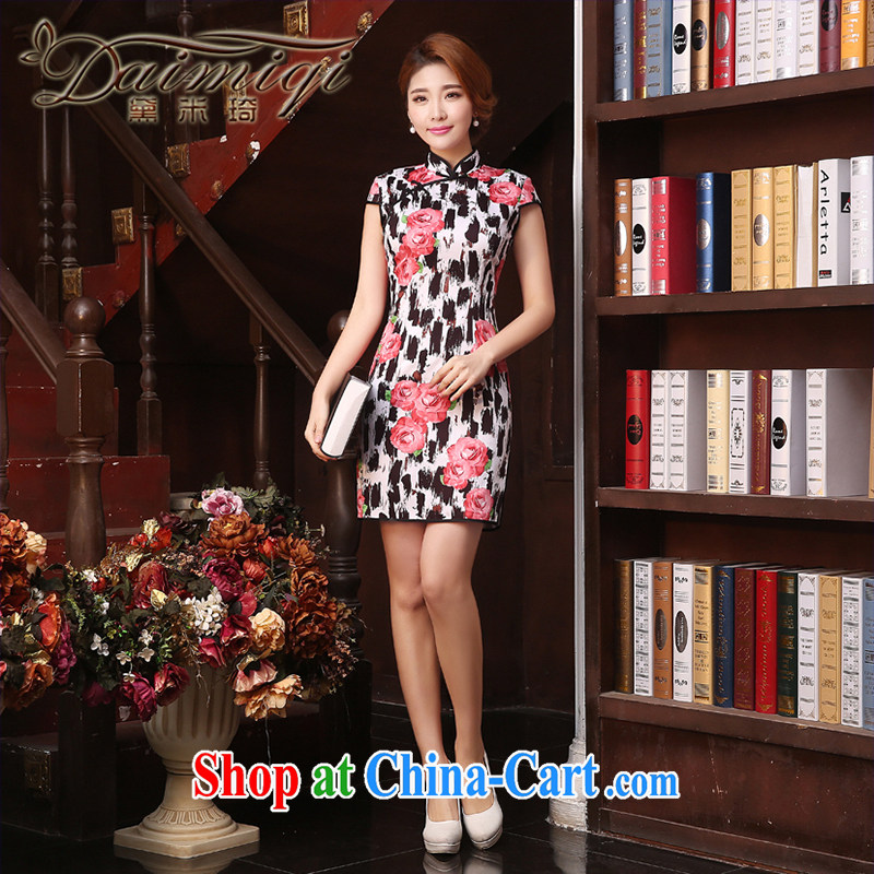 Dresses summer dresses improved cheongsam spring and summer are decorated with graphics thin stylish improved short solid dress retro dress black XXL