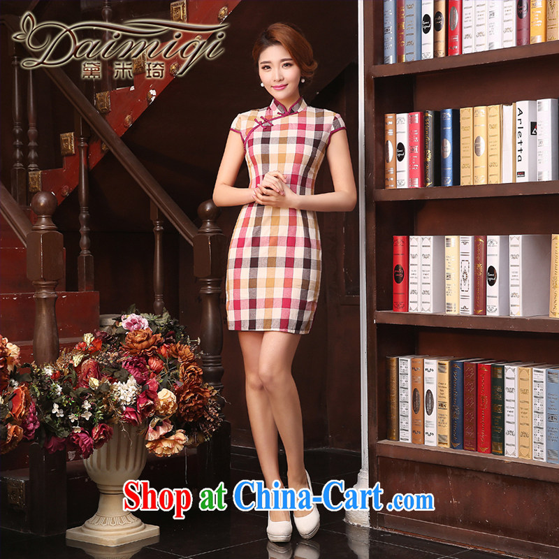 Grid cheongsam dress improved stylish 2015 new spring beauty of antique women's clothing short sleeve cheongsam dress pink XXL