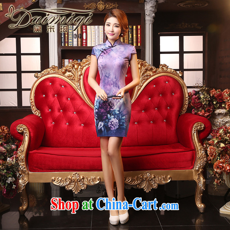 Dresses summer dresses improved summer 2015 new, Retro, the forklift truck cheongsam stylish improved daily cheongsam dress light purple M