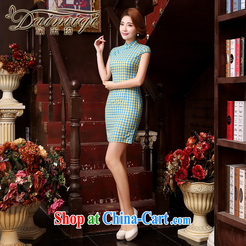 Dresses summer dresses improved 2015 summer beauty aura video thin women improved retro ceremony service banquet short elegant cheongsam dress light blue XXL