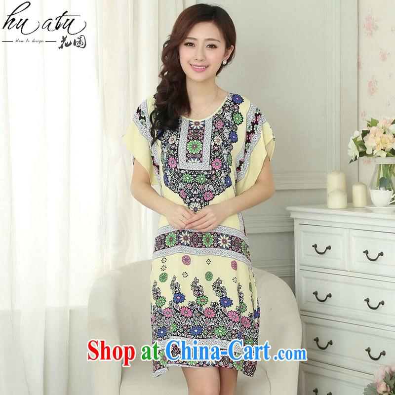 spend the summer new female Chinese pajamas round-collar cotton ethnic wind breathable stamp sleeping dress short-sleeved dresses - A are code