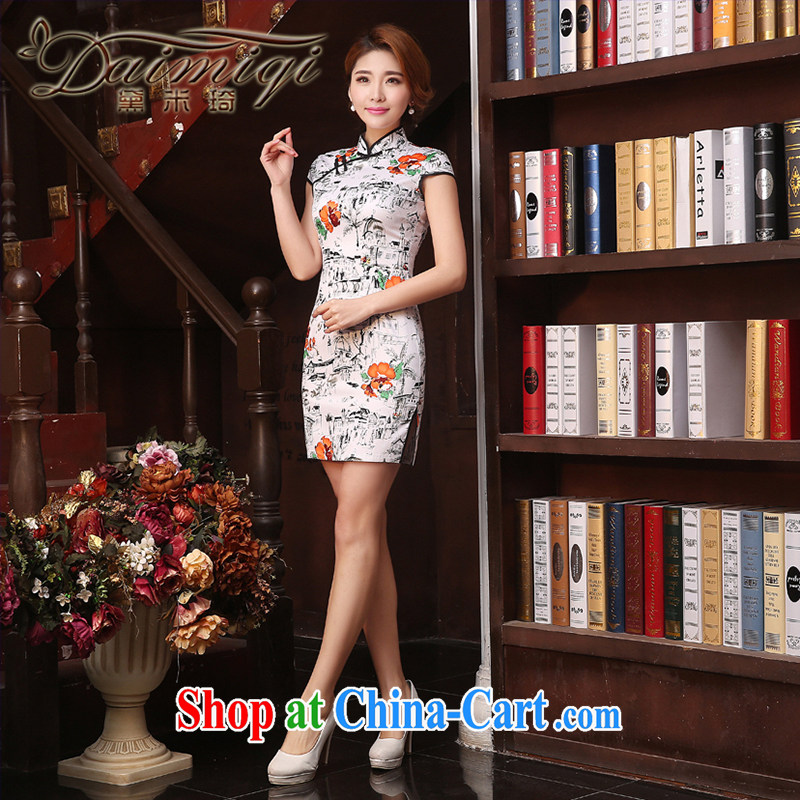 Mr Ronald ARCULLI qipao cheongsam with improved Chinese Antique upscale dresses skirts 2015 spring and summer elegance low the forklift truck cheongsam dress, collar cheongsam white XXL