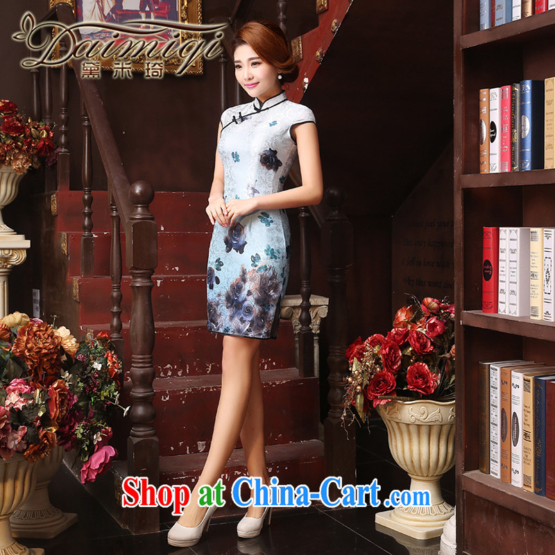 Dresses summer dresses improved 2015 new summer dresses lace embroidery cheongsam dress sponsors Chin daily improved fashion cheongsam white XXL