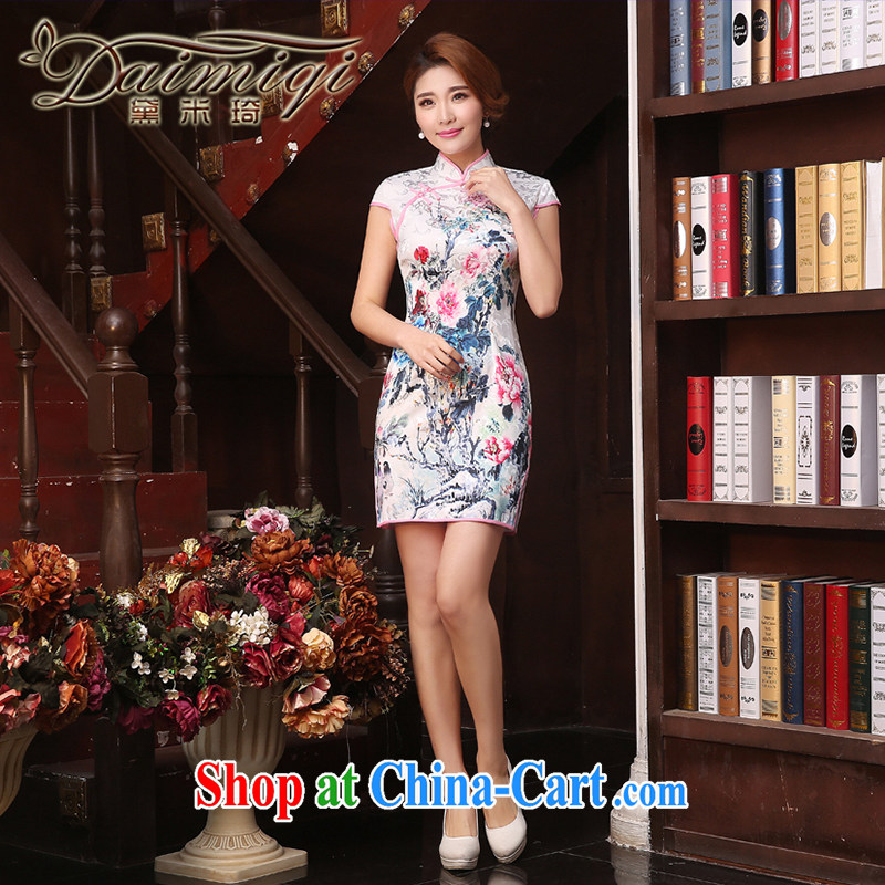 Dresses summer dresses skirts 2015 spring and summer new dresses and Stylish retro improved cheongsam dress daily short dresses beauty style white XXL