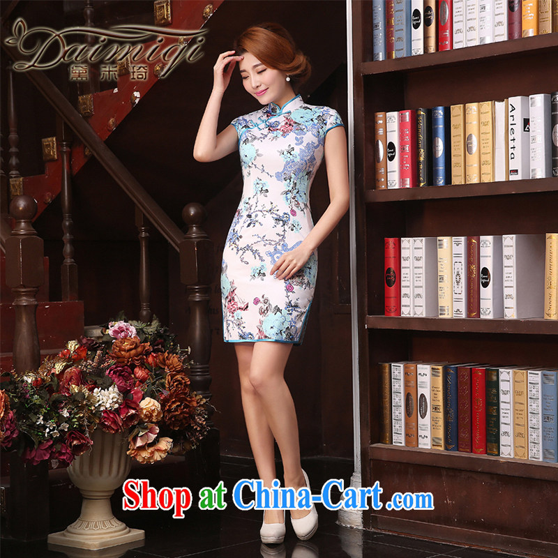 Dresses summer improved cheongsam cheongsam dress 2015 spring and summer new retro improved stylish arts of Korea cheongsam dress short beauty Ms. cheongsam white XXL