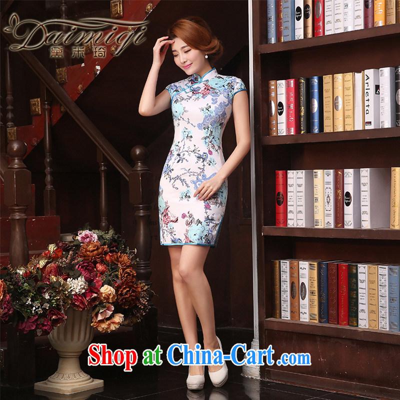 Dresses summer improved cheongsam cheongsam dress 2015 spring and summer new retro improved stylish arts of Korea cheongsam dress short beauty Ms. cheongsam white XXL