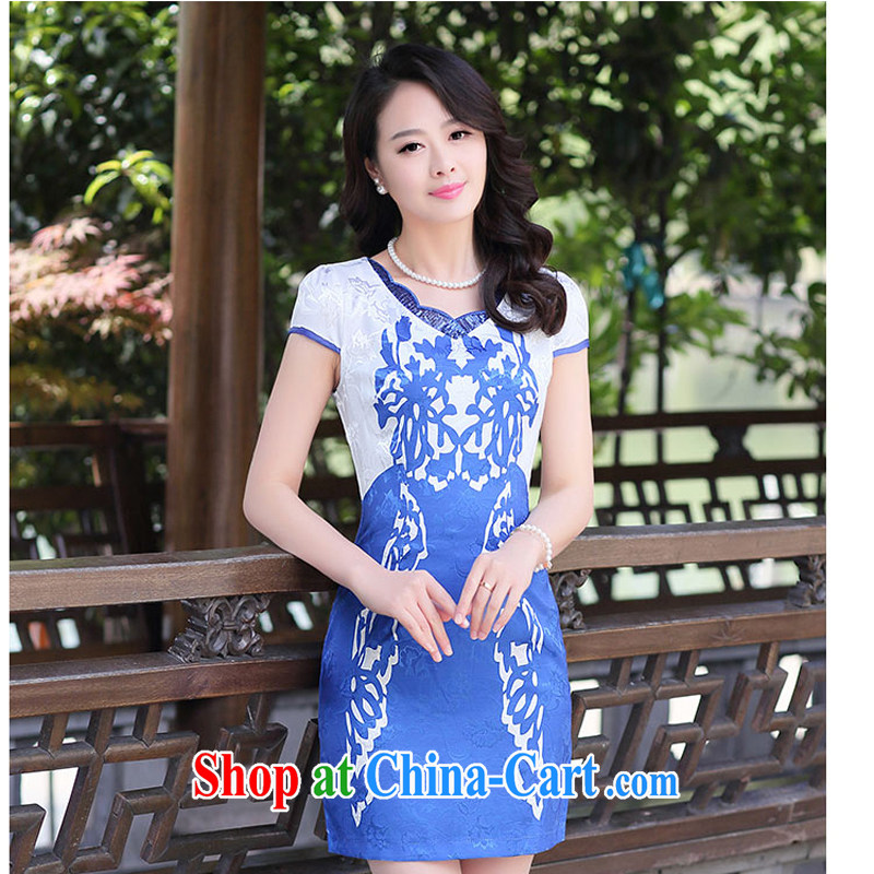 cheongsam dress 2015 new improved daily video thin short dresses sleeveless dresses girls summer 1510 blue and white porcelain XXL