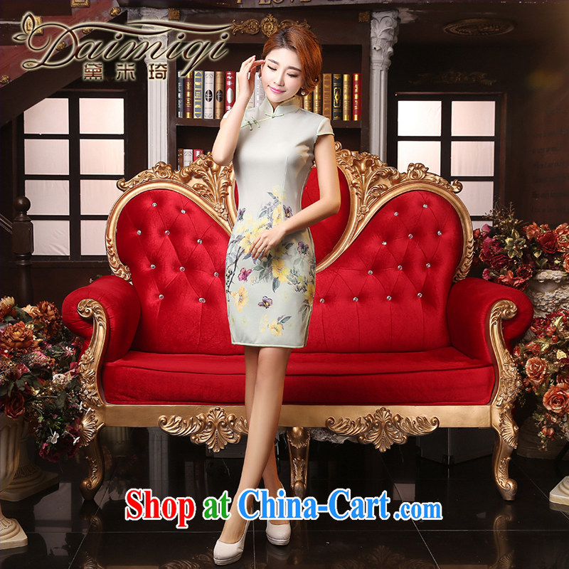 Dresses summer dresses improved 2015 new spring and summer short beauty aura video thin replicas classic improved wedding banquet cheongsam dress light gray XXL