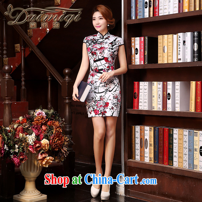 Dresses summer dresses skirts Stylish retro cheongsam dress summer 2015 new women who decorated in traditional costumes dresses everyday dresses short dresses girls white XXL