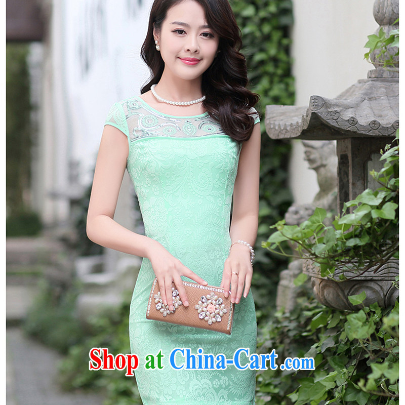 Improved stylish summer short 2015 NEW GRAPHICS thin lace cheongsam dress daily retro dress dresses 1511 green XXL