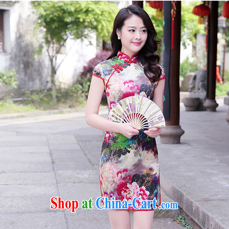 The female 2015 summer new improved stylish heavy Silk Cheongsam retro sauna Silk Cheongsam dress 1520 red Peony XL