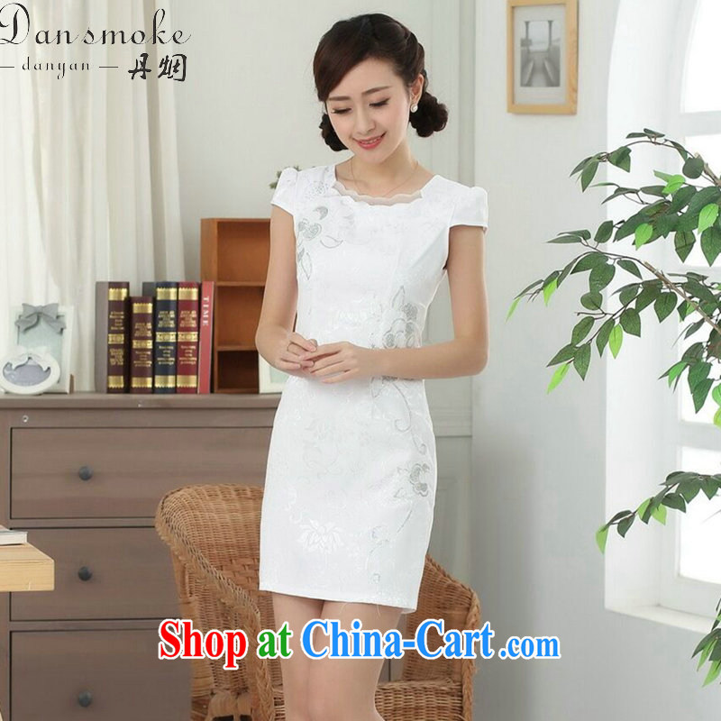 Bin Laden smoke summer new women with improved Tang loading goods with solid color embroidery, daily cotton short cheongsam dress white L