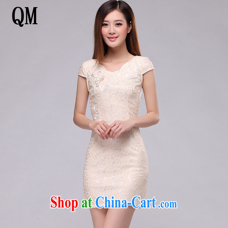 light at the Summer Beauty Fashion sexy lace cheongsam elegance short cheongsam dress retro small dress dresses female AQE 0752 apricot XXL