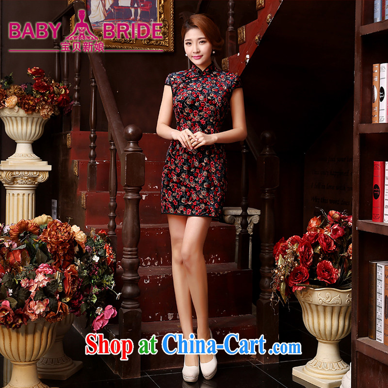 Dos Santos cheongsam silk new improved stylish and elegant beauty style short cheongsam dress spring and summer red XXL
