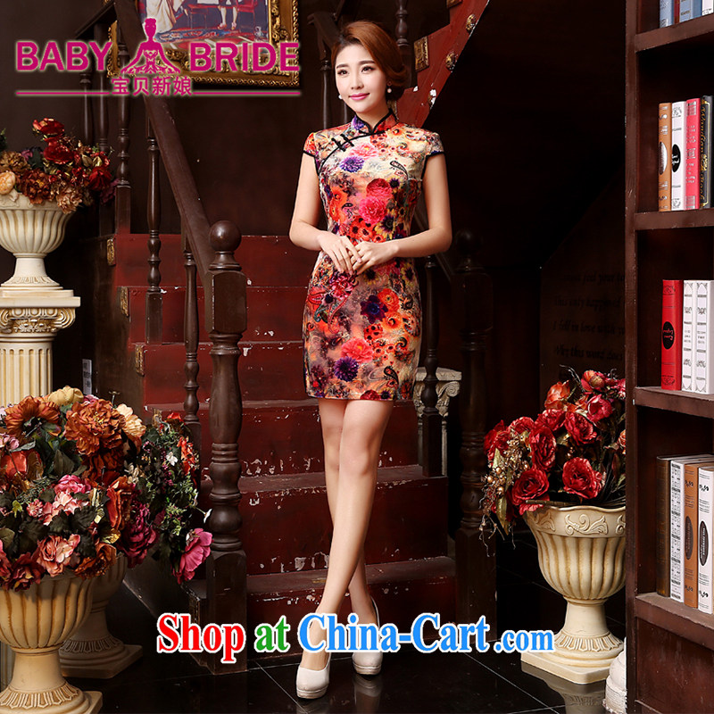 2015 new Korean dresses summer retro daily improved stylish elastic short-sleeve cheongsam dress orange L