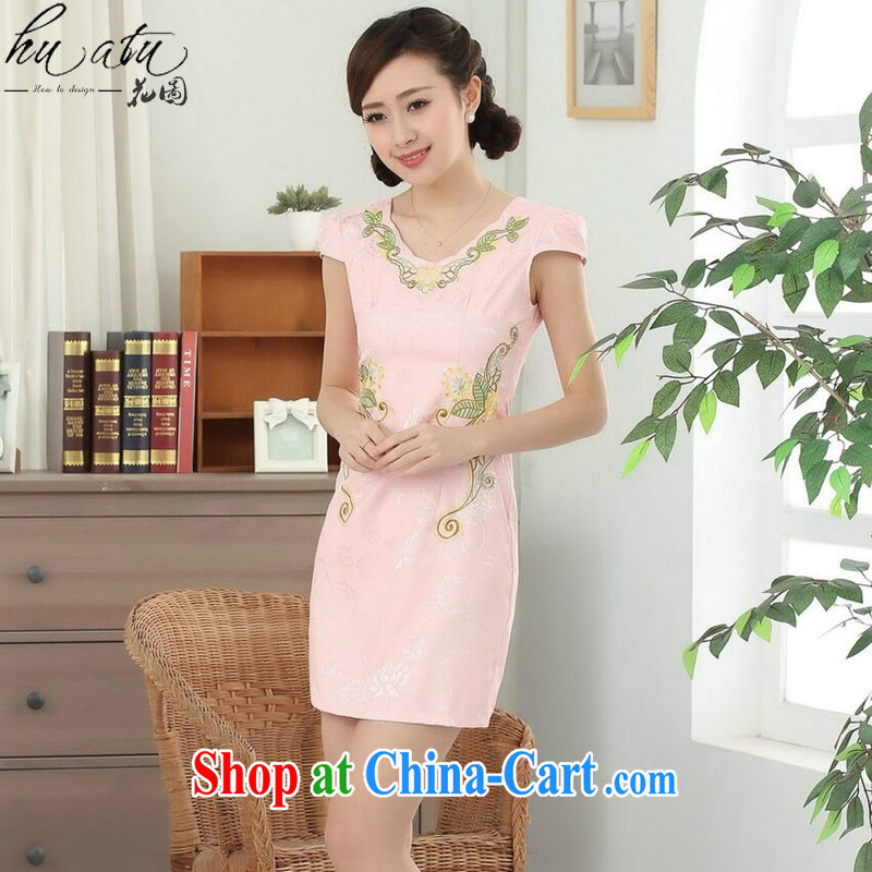 Take the new summer dress Chinese cheongsam elegant Chinese improved V for daily graphics thin embroidered short cheongsam dress - B pink 2 XL