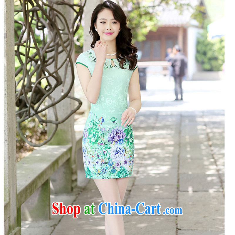 2015 new summer embroidery embroidery cheongsam stylish package beauty skirt daily improved cheongsam dress Ethnic Wind 1508 green floor Peony XXL