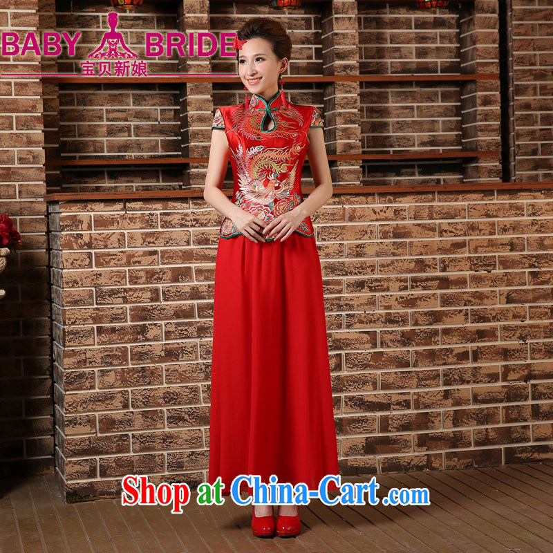 bridal dresses 2015 New Red bridal spring, short-sleeved dresses retro toast serving Chinese long cheongsam red XXL