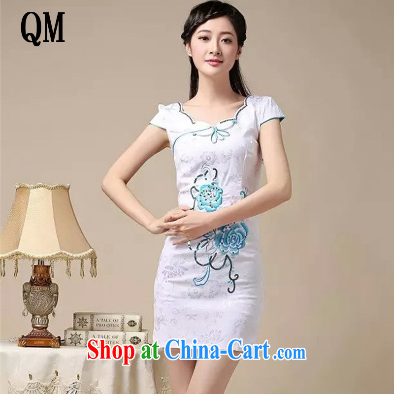 The end light summer cotton embroidered short cheongsam elegance ladies fashion dresses skirts AQE 0755 blue XXL