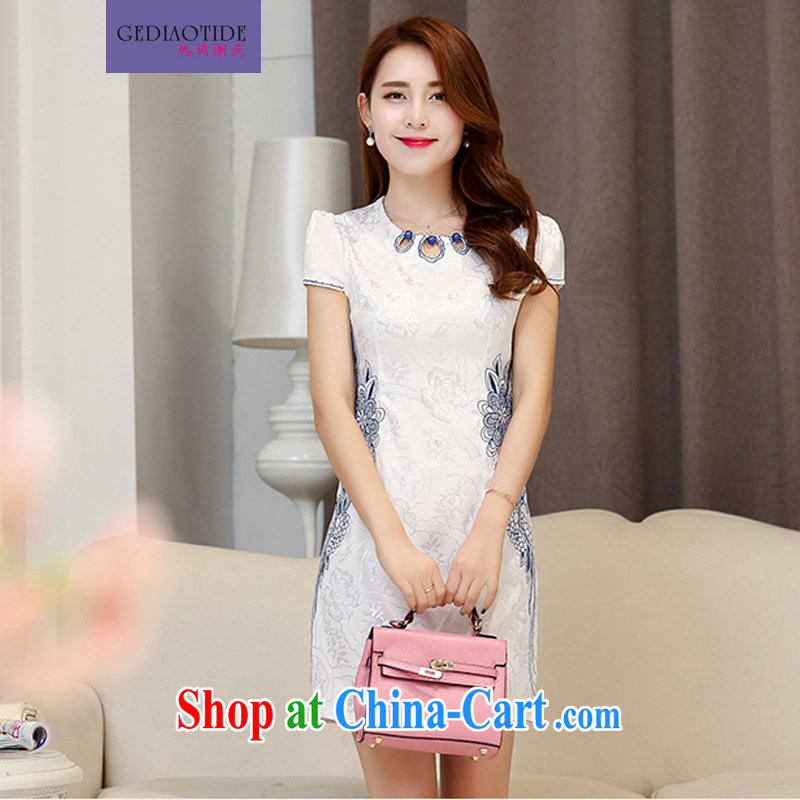 Style trends 2015 summer women's clothing new ethnic wind Chinese stamp retro beauty style graphics thin short-sleeve package and cheongsam dress L Hester Prynne