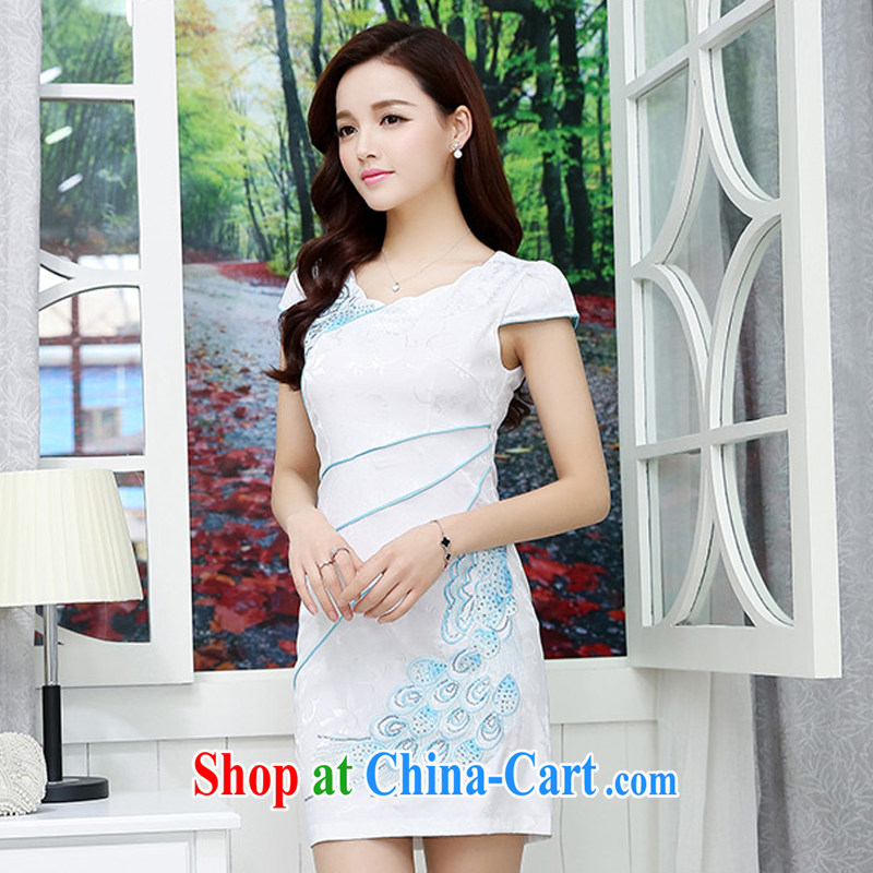 UYUK classical lady dresses retro embroidery flowers daily short cheongsam dress elegant sense of uniquely female curves of the US support the blue XXL