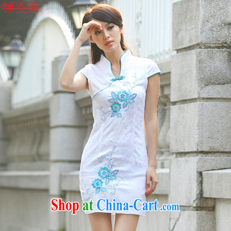 kam beauty new summer short-sleeved idyllic wind Chinese fashion cheongsam M 1393 blue flower XL