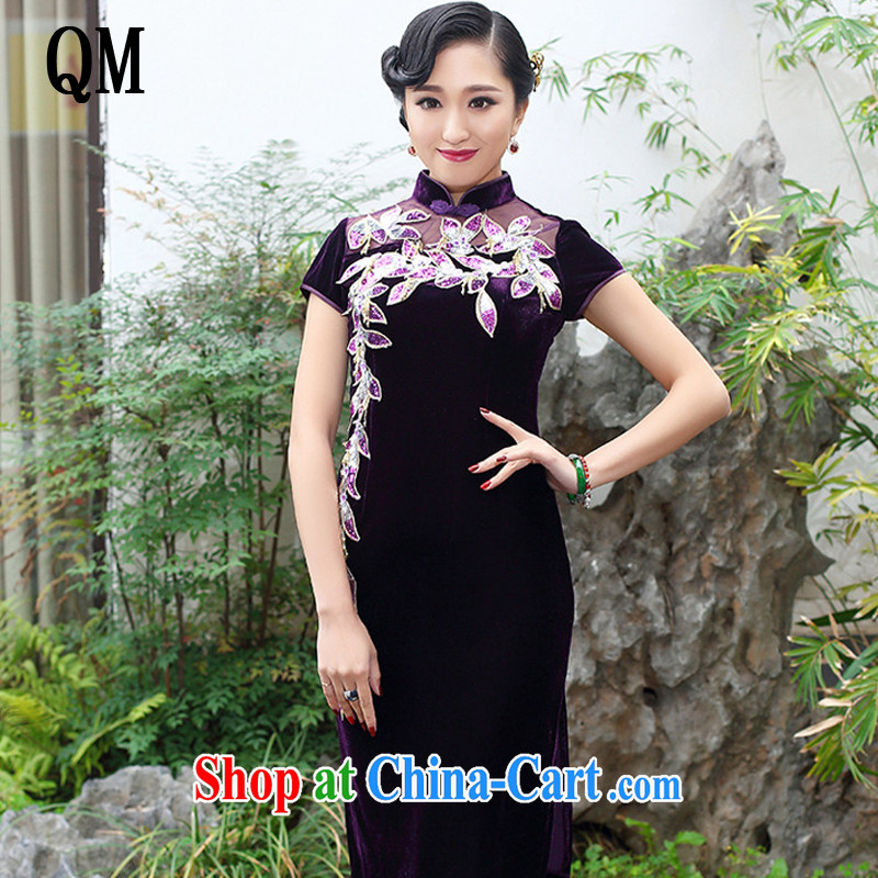 light at the boutique style gold velour cheongsam elegance upscale wedding banquet mother dress uniform toast the maize AQE 006 purple short-sleeved XXXXL
