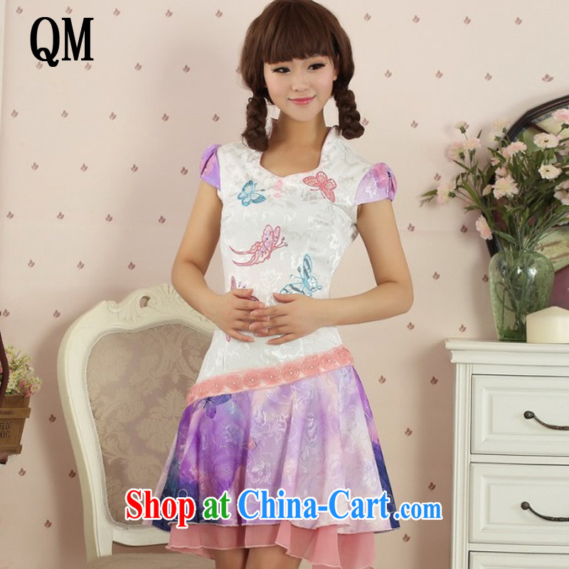 light at the Summer Beauty Fashion dresses, dresses retro girls improved daily Korea Chinese AQE 3428 purple XL