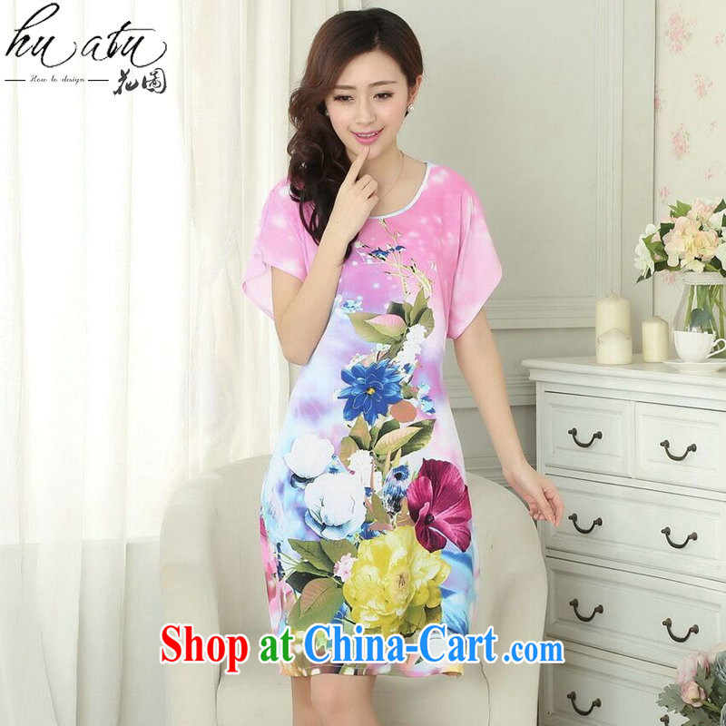 spend the summer with new, Chinese pajamas with stamp duty cotton with loose bathrobe short-sleeved dresses - B pink are code