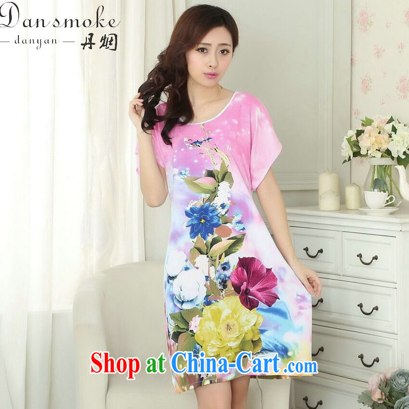 Dan smoke-free summer with new, Ms. replace pajamas with stamp duty cotton with loose bathrobe short-sleeve dress - B toner color code