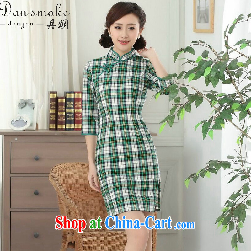 Bin Laden smoke female new Chinese qipao Chinese improved, for the hard-pressed Korea wind cotton plaid cuff in cheongsam dress in the Color 2 XL