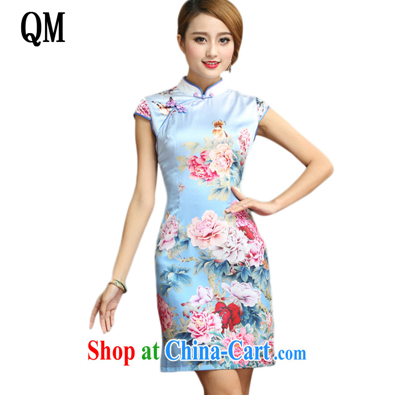 light at the elegant and refined antique Silk Cheongsam Chinese summer short-sleeved floral cheongsam dress AQE 008 Map Color XXL