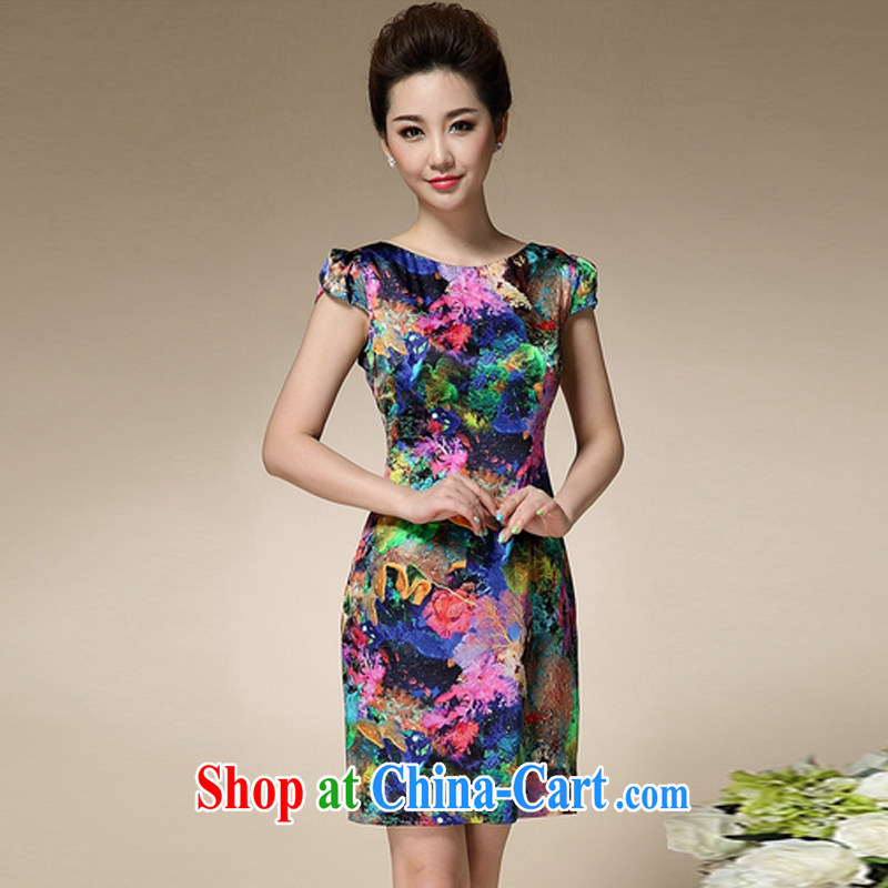 The Soviet Union's 2015 summer new stamp duty round-collar short-sleeve Sau San emulation Silk Dresses beauty charm antique dresses blue 3 XL