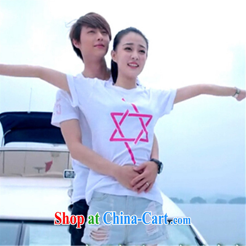 His wife's Lie Xu Xu Jialu SUN Kai Yuan L. Lee Dong-wook, the Summer couples with stamp duty 6 star t-shirt blue 2 XL