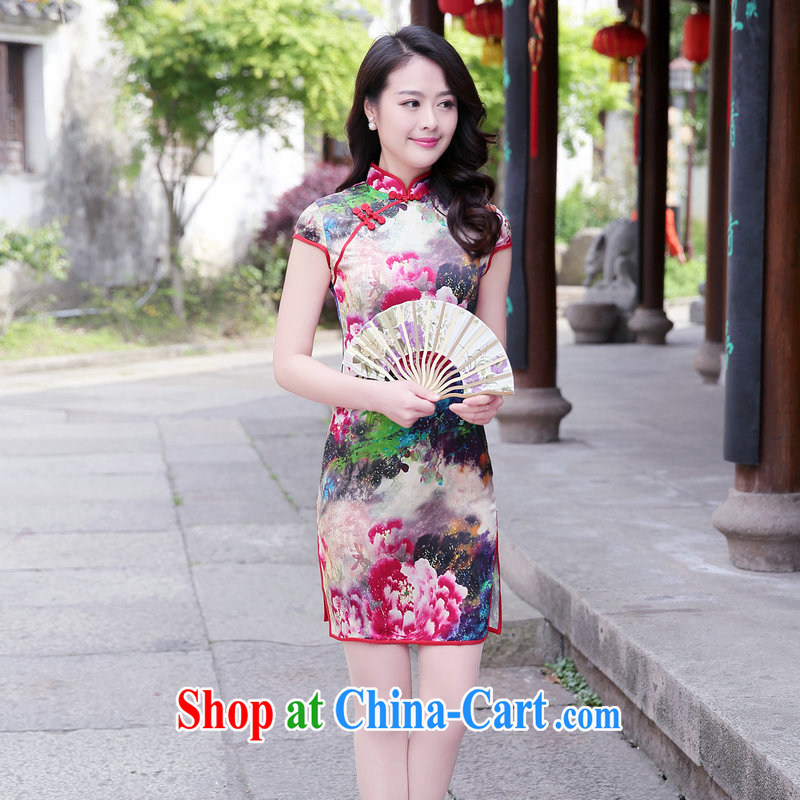 2015 summer new, genuine short skirt China National wind improved silk damask side the cheongsam dress stamp sauna beauty silk short-sleeved dresses female Red Peony S