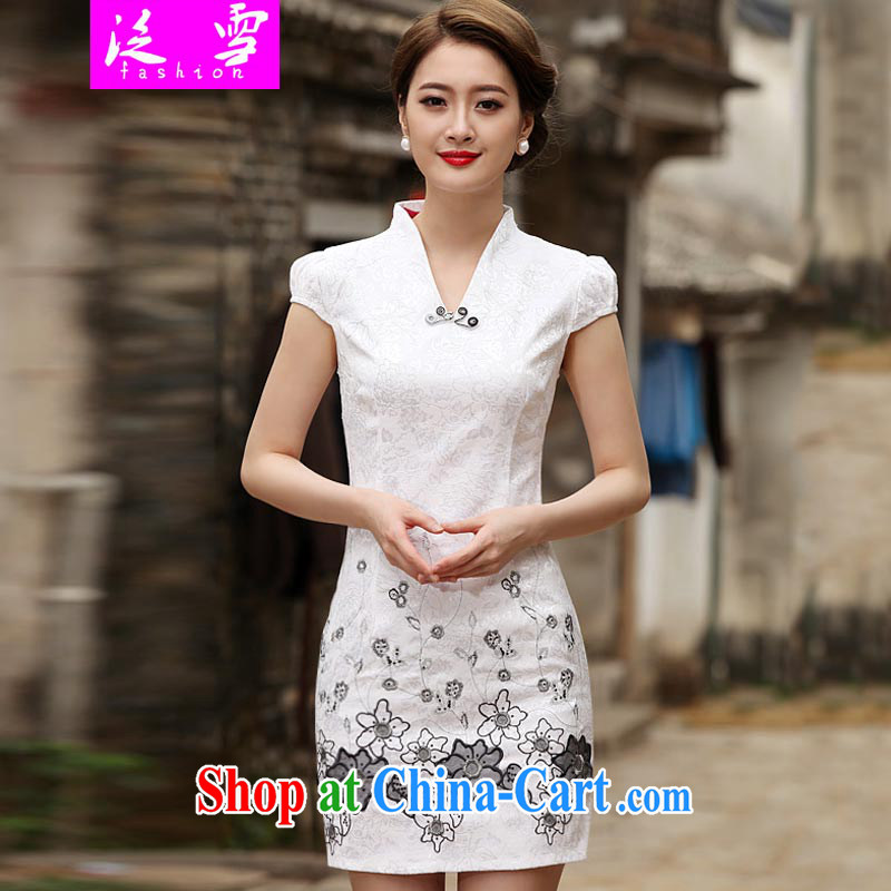 Snow and 2015 new Stylish retro improved cheongsam dress girl cheongsam dress 1120 white 2XL