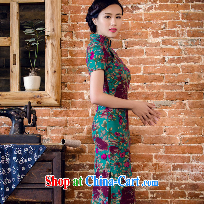 The end is the long summer dresses short sleeve cheongsam dress antique Chinese cotton the dresses Ethnic Wind women 2063 AQE Aloeswood M, shallow end (QM), online shopping