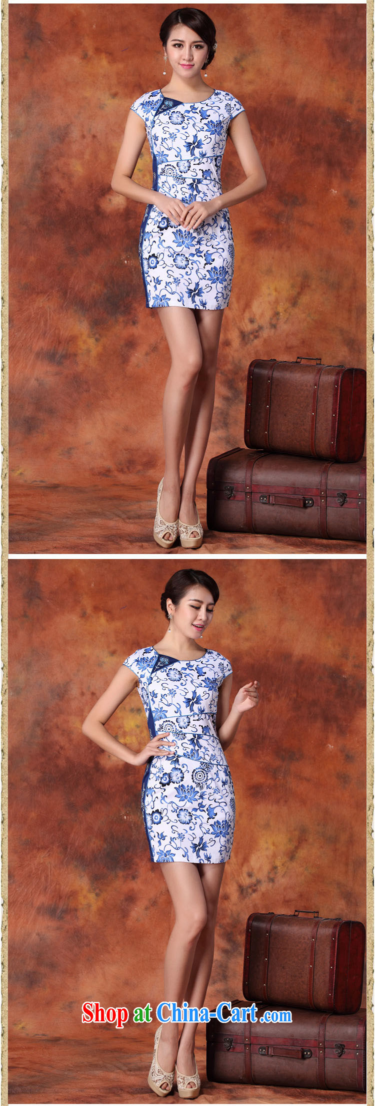 light at the retro improved daily outfit short sleeved cultivating charisma cheongsam dress AQE 1019 blue and white porcelain XXL pictures, price, brand platters! Elections are good character, the national distribution, so why buy now enjoy more preferential! Health