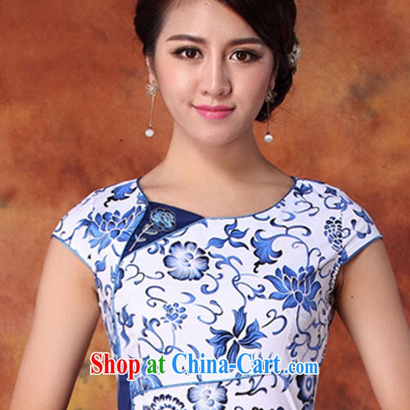 light at the retro improved daily outfit short sleeved cultivating charisma cheongsam dress AQE 1019 blue and white porcelain XXL, light (at the end) QM, shopping on the Internet