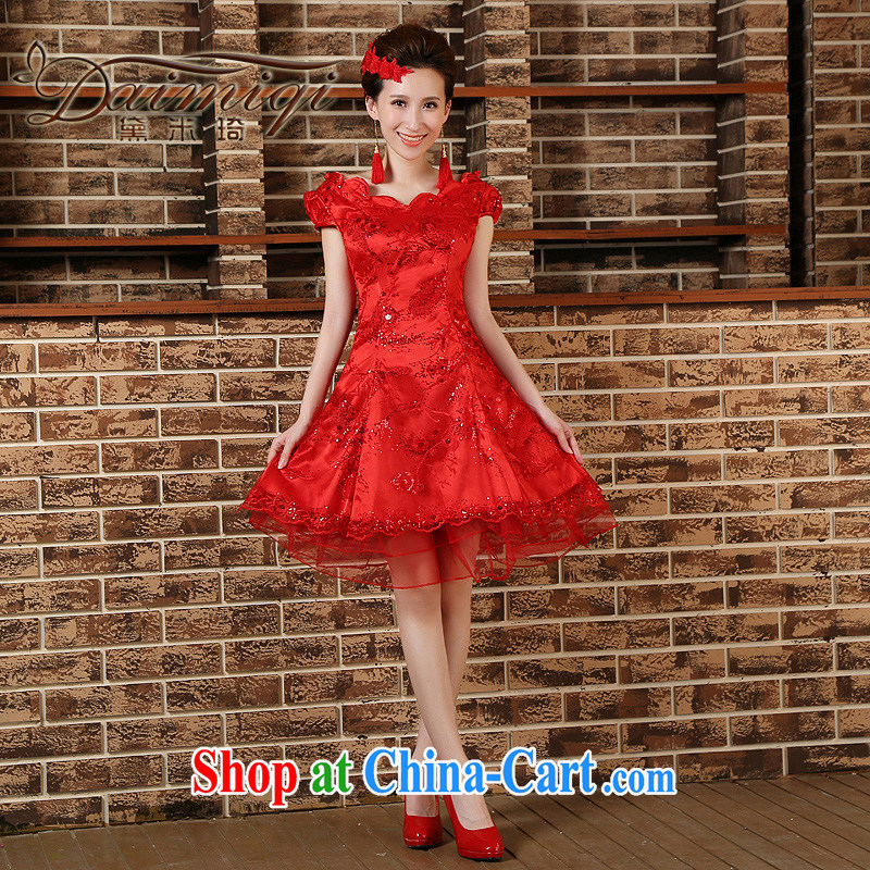Bridal toast clothing spring wedding dresses short long-sleeved wedding dress dresses 2015 New Red XXL