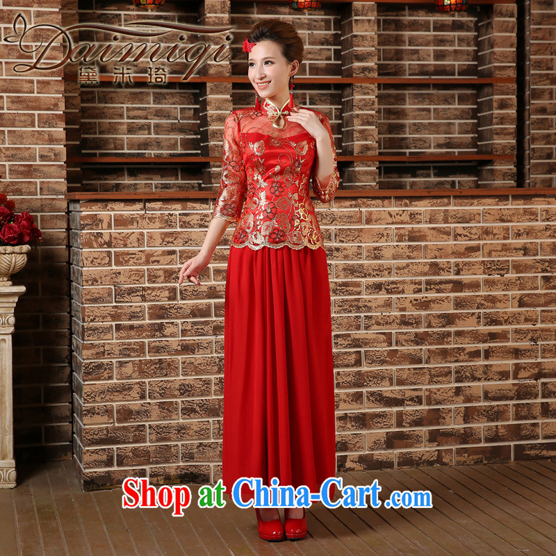 2015 Spring Summer China wind bows Service Bridal wedding dress retro embroidery long cheongsam red female Red XXL